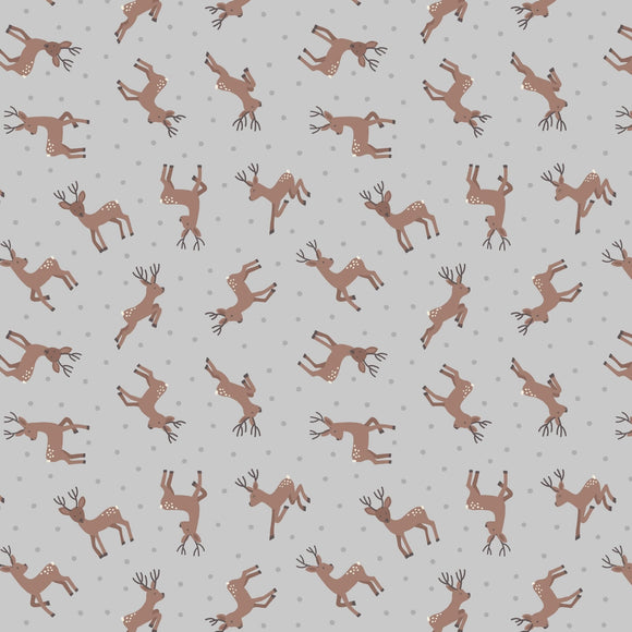 Deer - Small Thing Country Creatures Fabric Range - Lewis and Irene - Grey