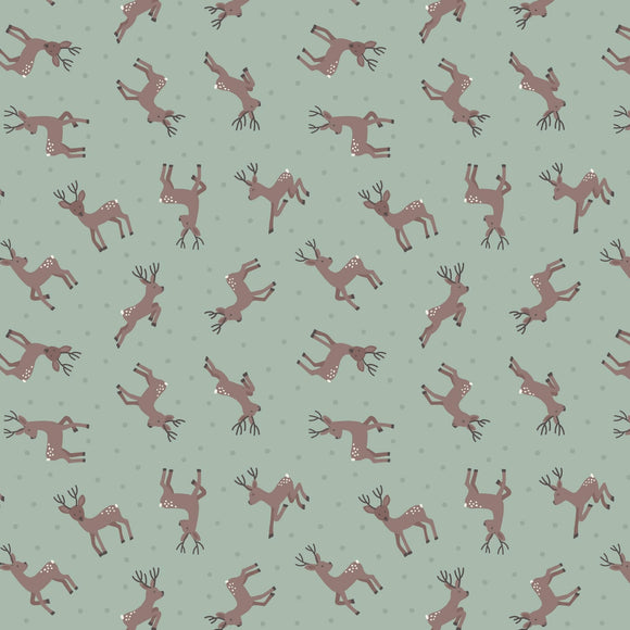 Deer - Small Thing Country Creatures Fabric Range - Lewis and Irene - Sage Green