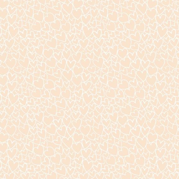 Heart - Essentials range of fabric by Makower - Nude
