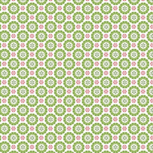 Heart Snowflakes Fabric - Lewis and Irene - Christmas Green