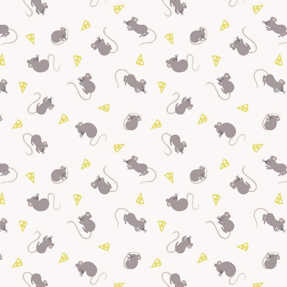 Mice - Small Thing Country Creatures Fabric Range - Lewis and Irene - Cream
