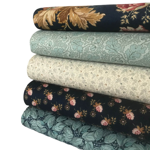 Super Bloom  - Blues - 5 Fat Quarter Bundle