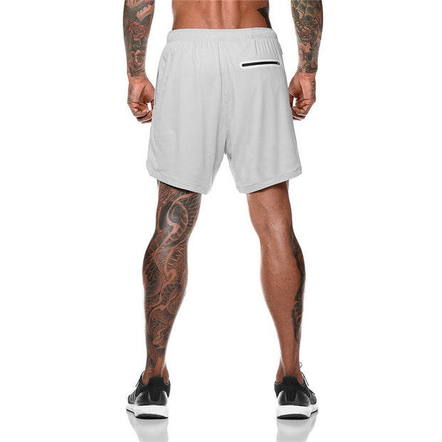 Mens Short Length Athletic Shorts with Conceal Pocket - Light Grey