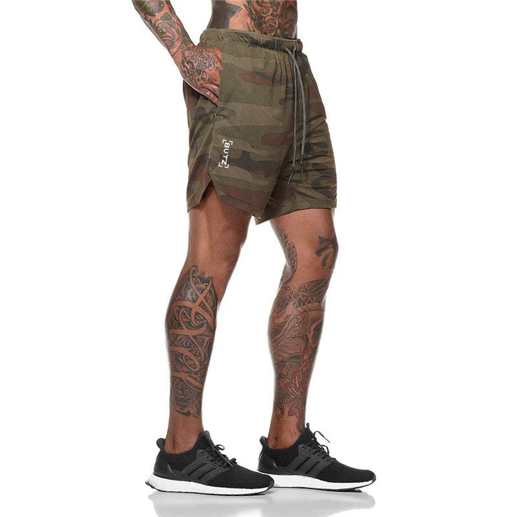 Mens Short Length Athletic Shorts with Conceal Pocket - Brown Camo