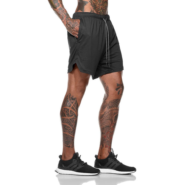 Mens Short Length Athletic Shorts with Conceal Pocket - Black