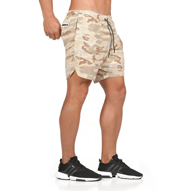 Mens Short Length Athletic Shorts with Conceal Pocket - Khaki Camo