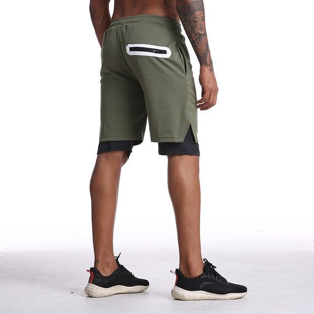 Mens Knee Length Athletic Shorts with Conceal Pocket - Army Green