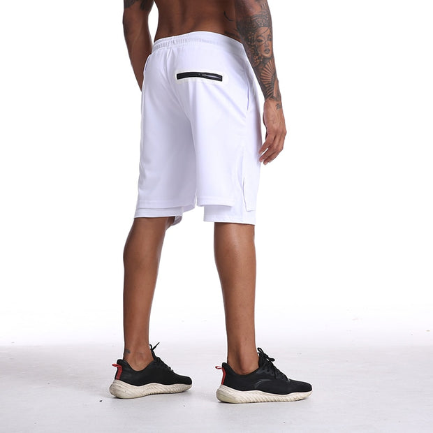 Mens Knee Length Athletic Shorts with Conceal Pocket - White