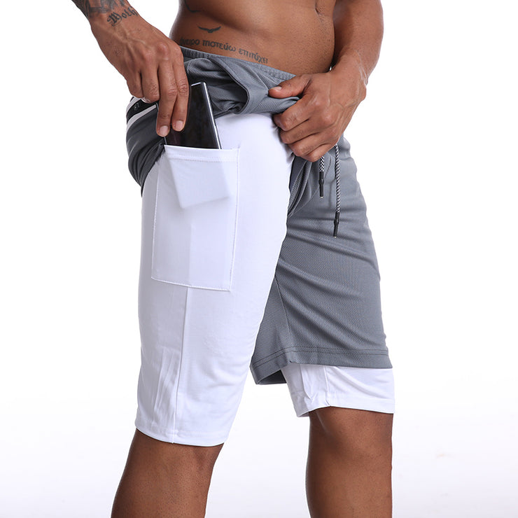 Mens Knee Length Athletic Shorts with Conceal Pocket - Grey