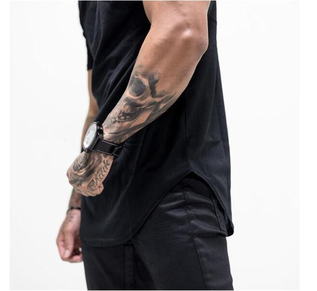 MuscleGuys Curved Hem T Shirt Modern Design - Black