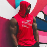 MuscleGuys Sleeveless Hoodie Tank - Red