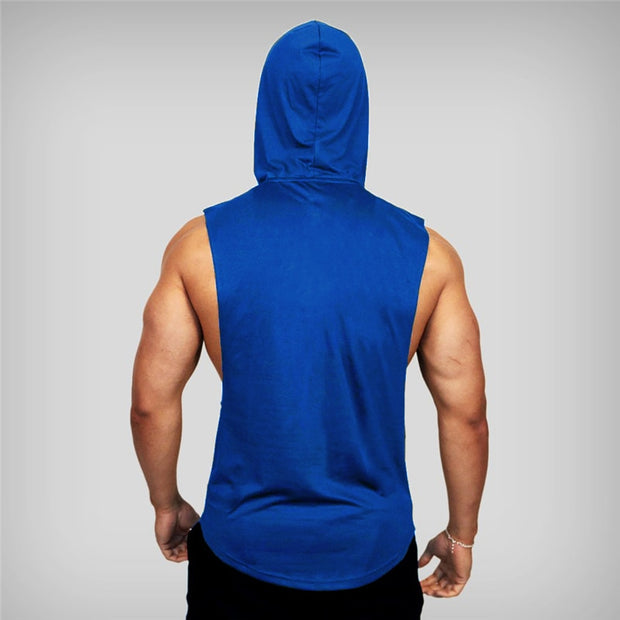 MuscleGuys Sleeveless Hoodie Tank - Blue
