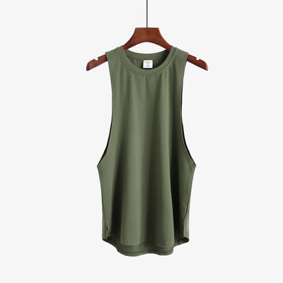 New Mens Slim Tank - Army Green