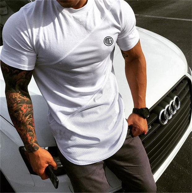 MuscleGuys Curved Hem T Shirt Modern Design - White