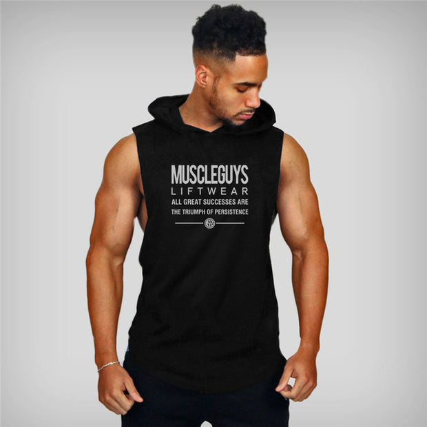 MuscleGuys Sleeveless Hoodie Tank - Black