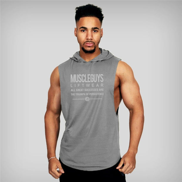 MuscleGuys Sleeveless Hoodie Tank - Grey