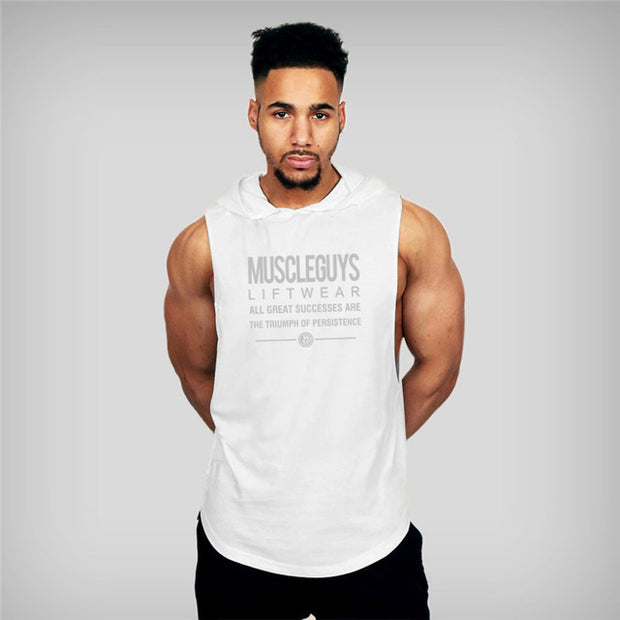MuscleGuys Sleeveless Hoodie Tank - White