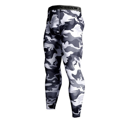 Mens Compression Pants - Grey Camo