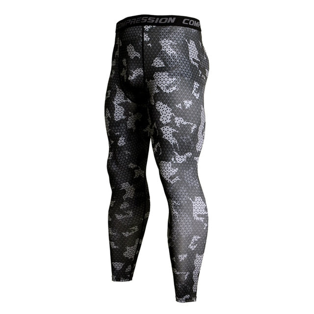 Mens Compression Pants - Black Camo