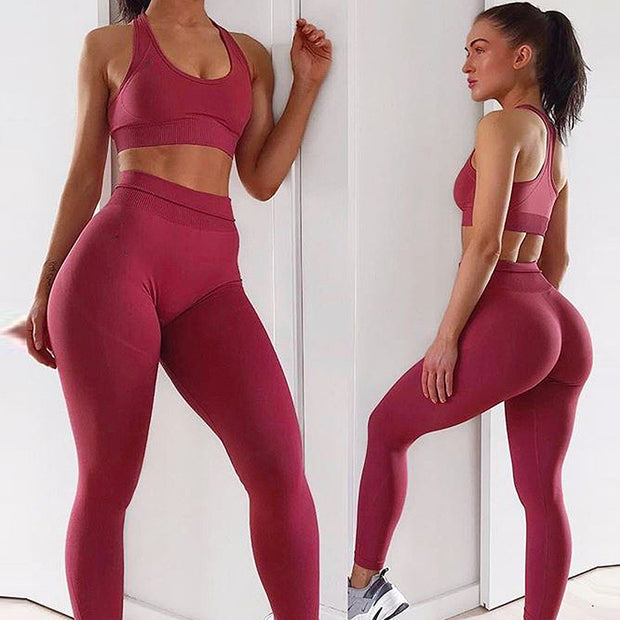Womens Athletic Leggings & Sports Bra Outfit - Red