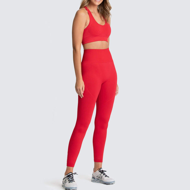 Womens Athletic Leggings & Sports Bra Outfit - Bright Red