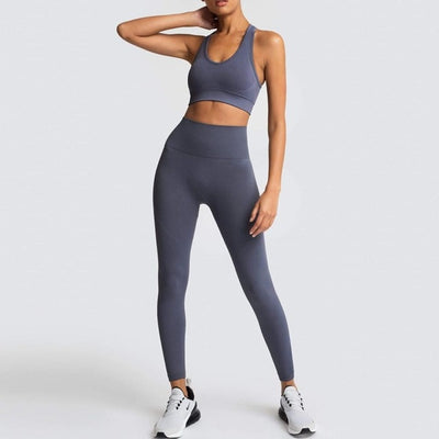 Womens Athletic Leggings & Sports Bra Outfit - Grey