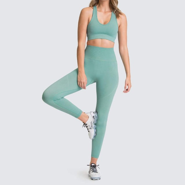 Womens Athletic Leggings & Sports Bra Outfit - Bean Green