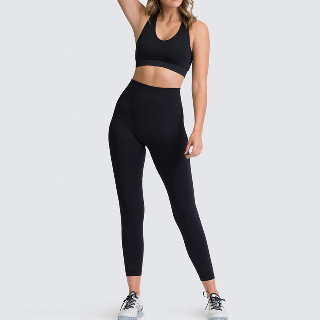 Womens Athletic Leggings & Sports Bra Outfit - Black