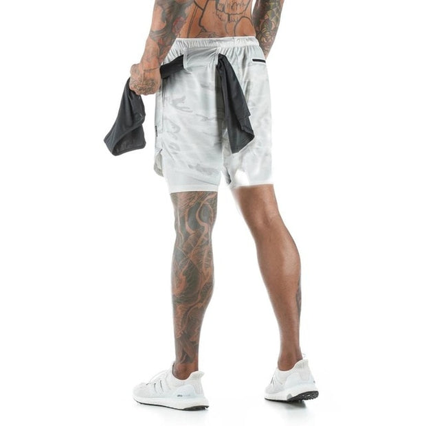 Mens Knee Length Athletic Shorts with Conceal Pocket - White Camo