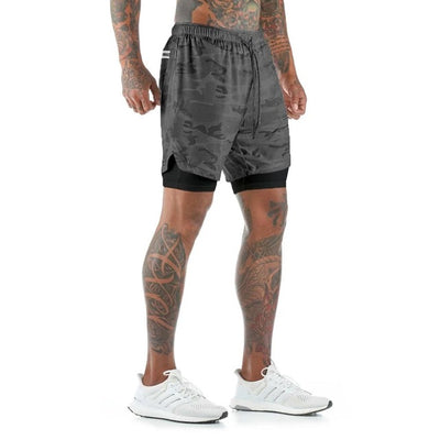 Mens Knee Length Athletic Shorts with Conceal Pocket - Black Camo