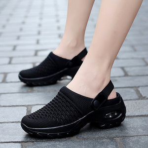 Women mesh breathable thick bottom air cushion heelless shoe cover shoes