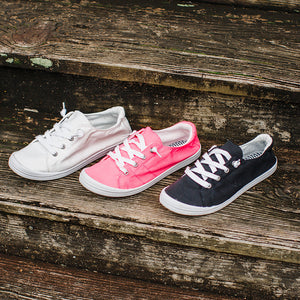 Women's summer round-toe comfortable lace-up PU canvas sneakers