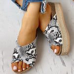Load image into Gallery viewer, Women Large Size Animal Pattern Cross-Strap Muffin Sandals