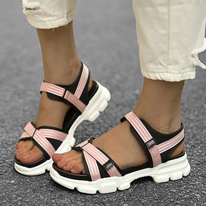 Women Hook Loop Platform Sport Sandals