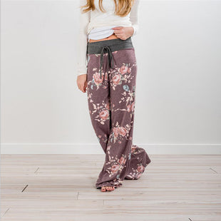 Women Drawstring Casual Printing Home Pants