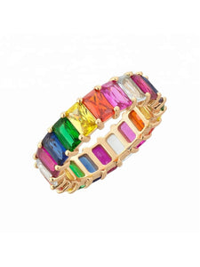 ins rainbow gradient zircon ring