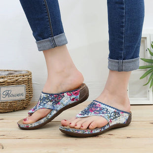 Women's toe breathable floral wedge sandals