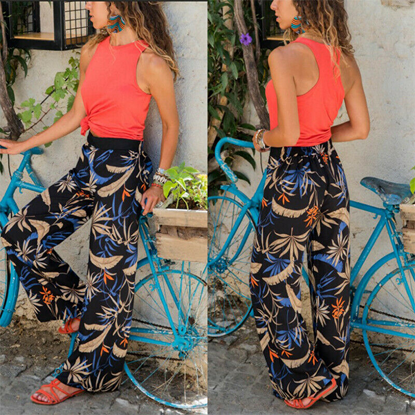 Women's High Waist Casual Printed Home Pants