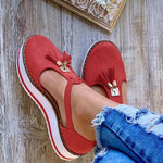 Load image into Gallery viewer, Women's Leather Fringed Platform Mary Jane Flat Shoes