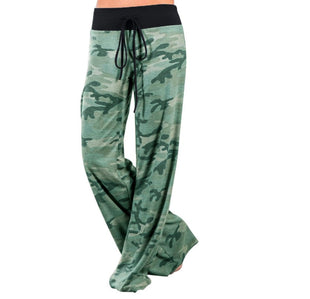 Women Drawstring Casual Camouflage Home Pants