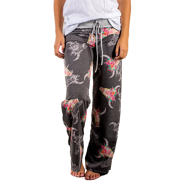 Women Drawstring Casual Antlers Printing Home Pants