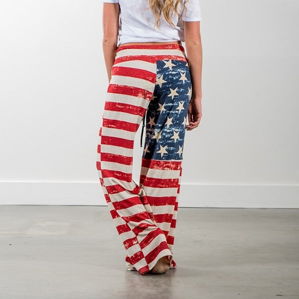 Casual Loose American Flag Striped Drawstring Wide Leg Pants