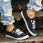 Load image into Gallery viewer, Women's summer round-toe comfortable lace-up PU canvas sneakers