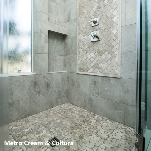 Motion Floor/Wall and Cultura Mosaic Pebble Tile