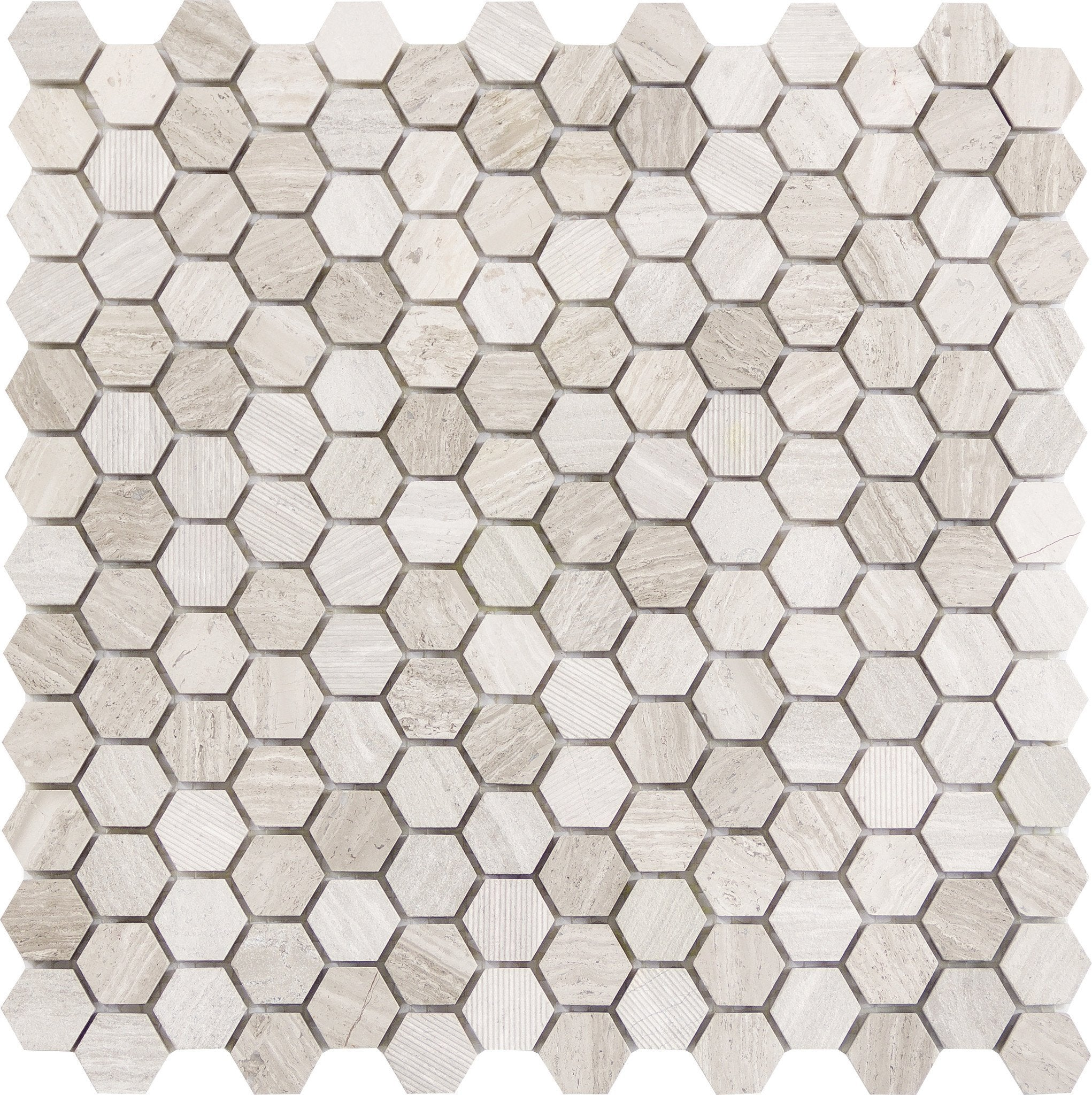 "Metro Cream 1"" Hexagon"