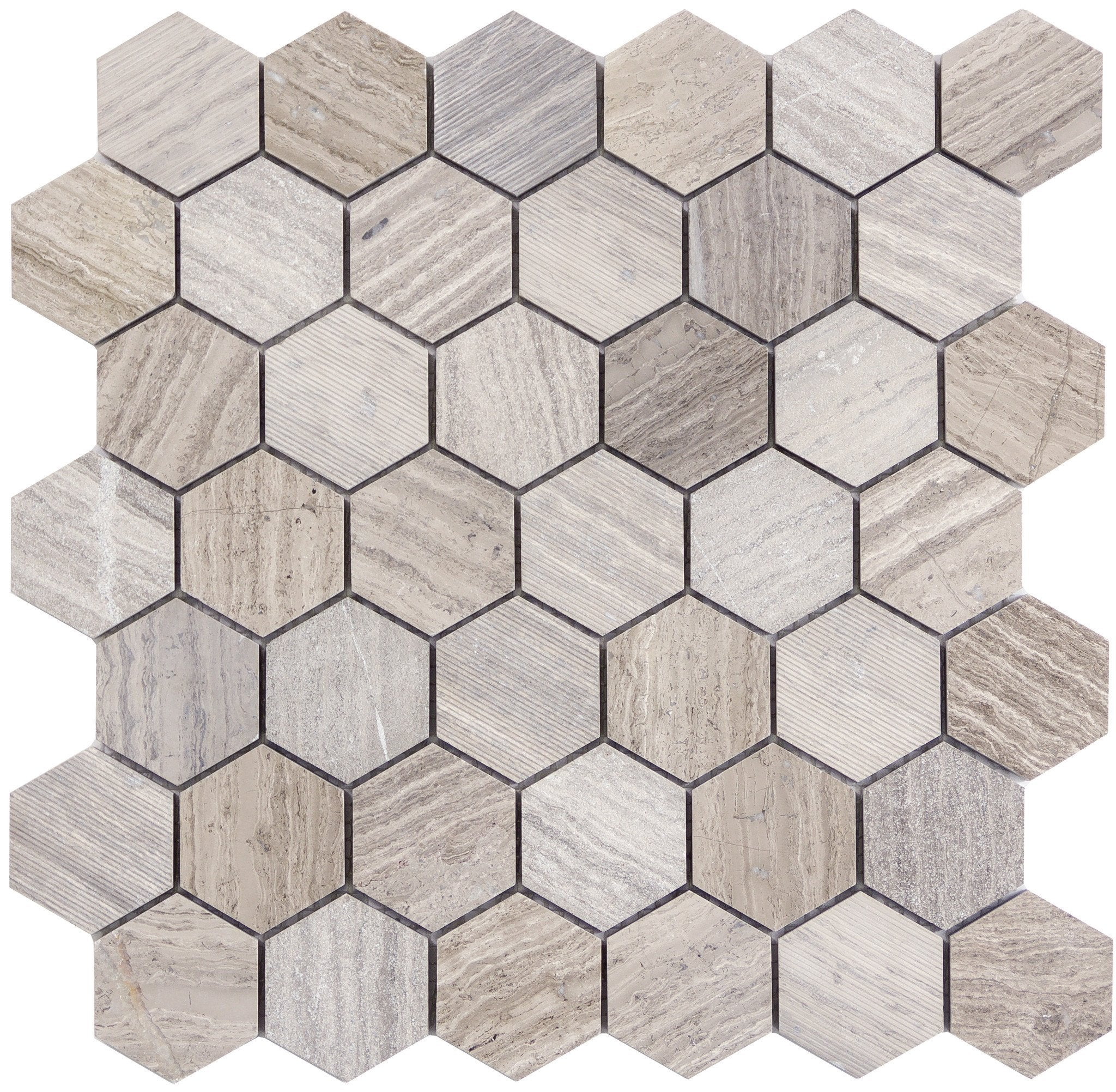 "Metro Gray 2"" Hexagon"