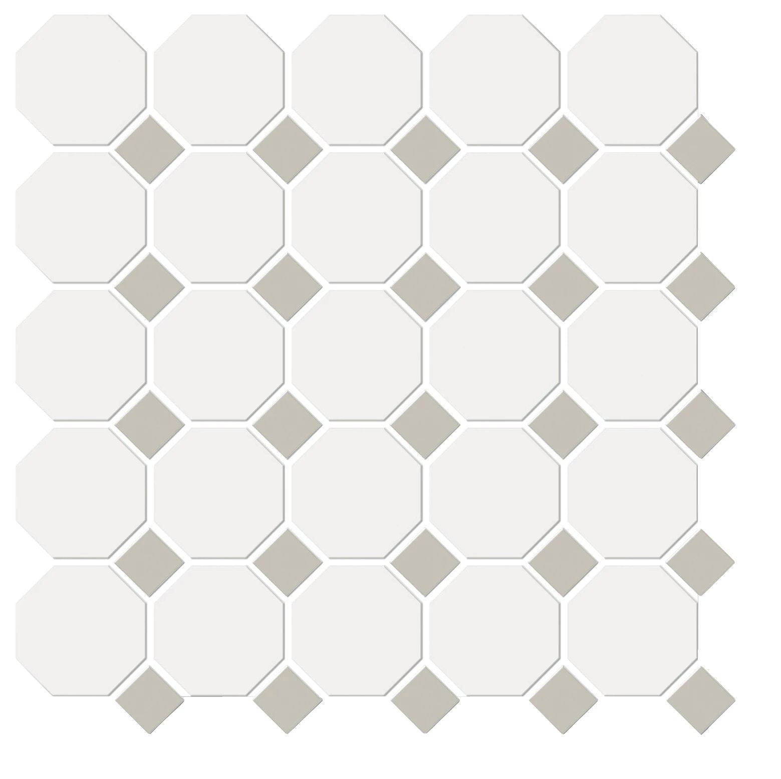 Shape Porcelain Mosaic Floor/Wall Tile White & Fawn Octagon