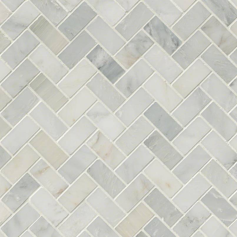 Arabescato Carrara Herringbone Pattern Tile