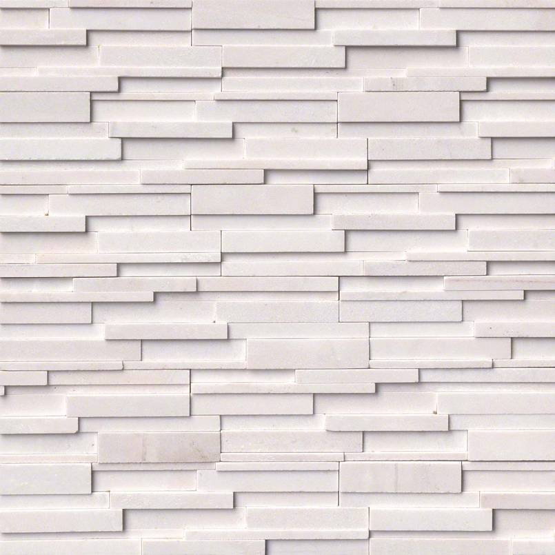 Arctic White 3D Honed Rockmount Stacked Stone Panels