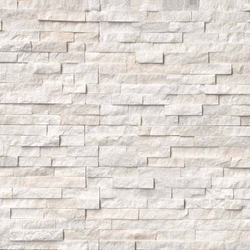 Arctic White Rockmount Stacked Stone Panels
